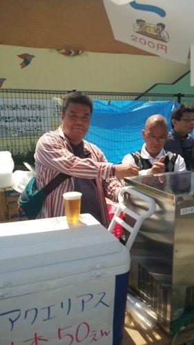 2014.4.27 地元東町会の「春まつり」にて生ビールをお手伝い