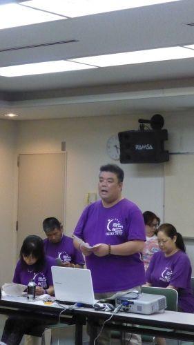 2015.7.11 ガン征圧・患者支援のチャリティいベントのリレーフォーライフ泉州実行委員会主催の「チーム説明会」で開催趣旨など説明させていただきました。