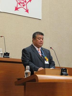 2019.3.19 平成31年第1回定例会最終日に予算特別委員会報告を行う南野市議